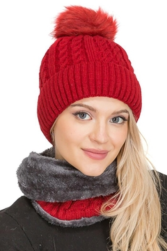 Cap Zone Sherpa Fur Lined Two Piece Set Beanie And Scarf - Product List Image