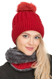 Cap Zone Sherpa Fur Lined Two Piece Set Beanie And Scarf - Product Mini Image