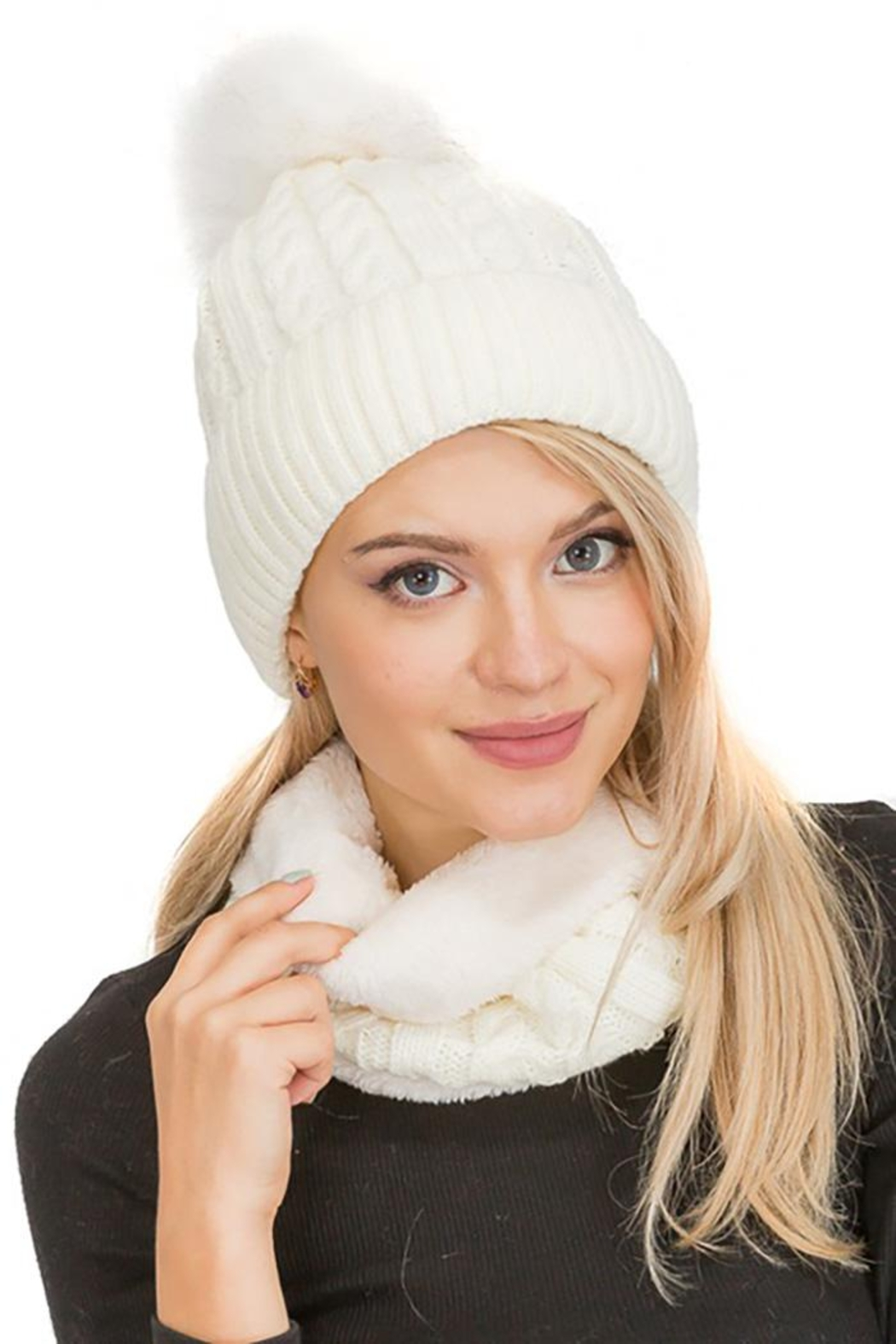 Cap Zone Sherpa Fur Lined Two Piece Set Beanie And Scarf - Main Image