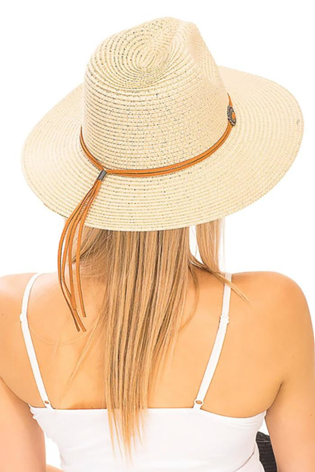 Cap Zone Silver Conch Brooch Panama Hat - Front Full Image