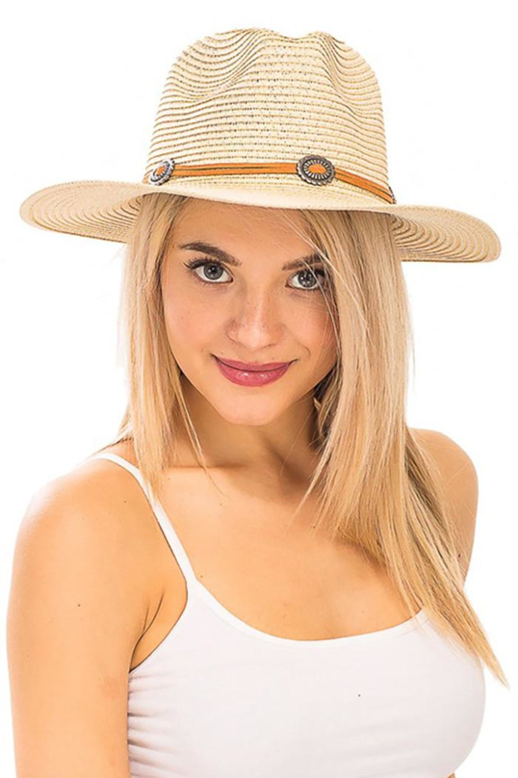Cap Zone Silver Conch Brooch Panama Hat - Front Cropped Image