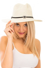 Cap Zone Silver Conch Brooch Panama Hat - Front cropped