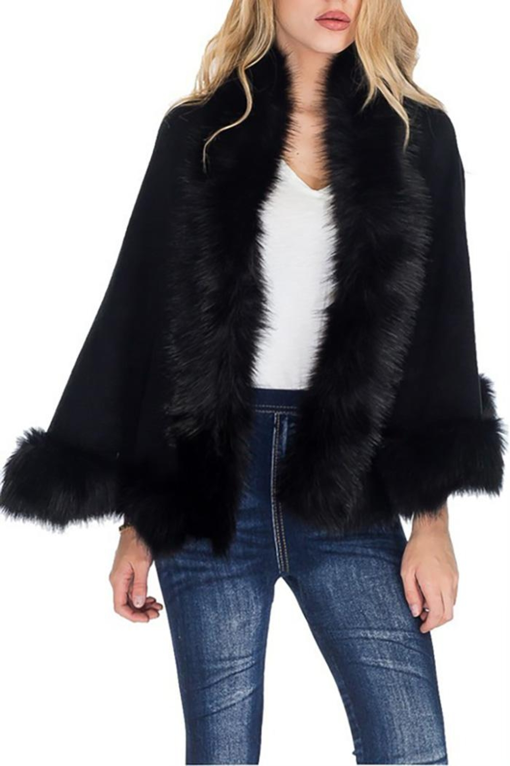 Cap Zone Single Layered Open Silhouette Cape With Faux Fur - Front Cropped Image