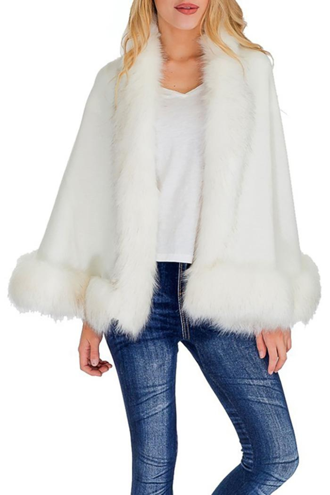 Cap Zone Single Layered Open Silhouette Cape With Faux Fur - Main Image
