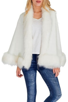 Cap Zone Single Layered Open Silhouette Cape With Faux Fur - Product List Image