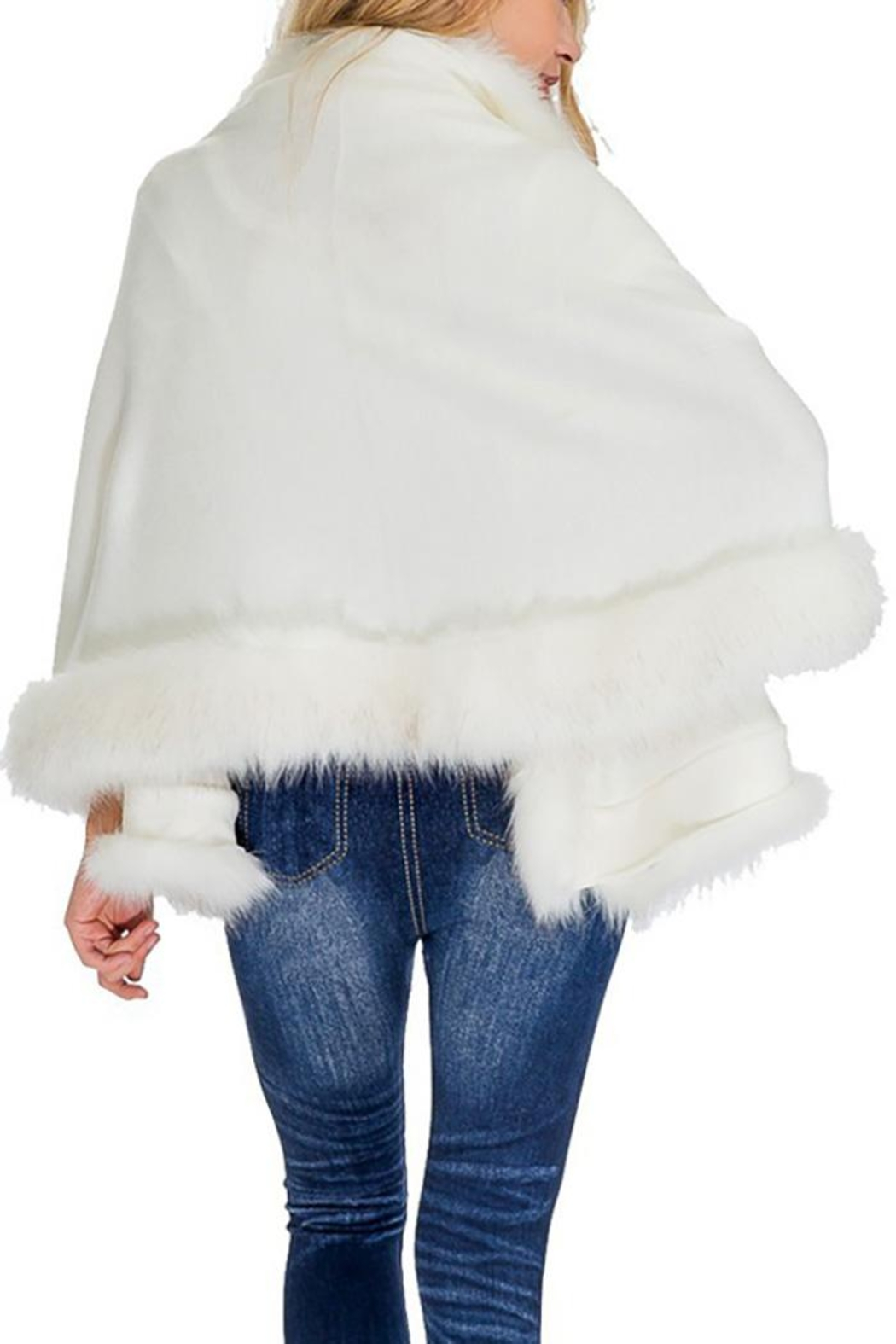 Cap Zone Single Layered Open Silhouette Cape With Faux Fur - Front Full Image