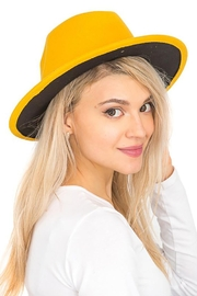 Cap Zone Solid Black Bottom Wide Brimmed Panama Hat - Product Mini Image