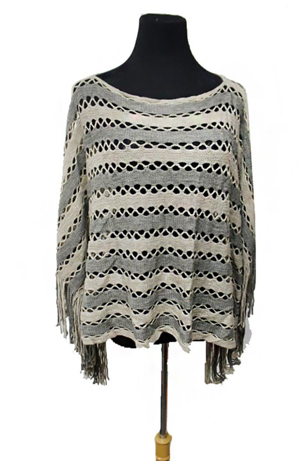 Cap Zone Tinsel Accent Fringe-Poncho - Front Cropped Image
