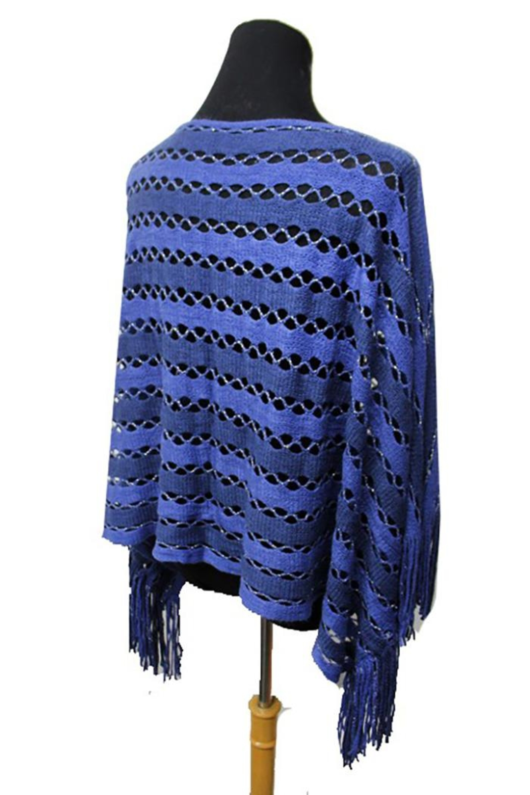 Cap Zone Tinsel Accent Fringe-Poncho - Front Full Image