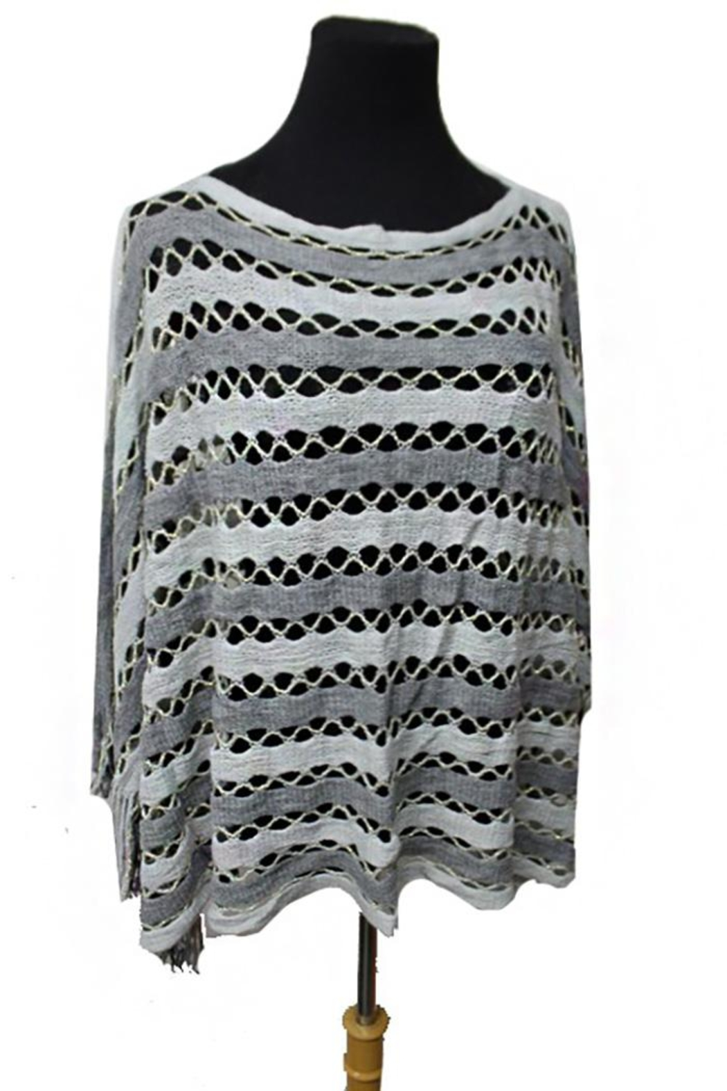 Cap Zone Tinsel Accent Fringe-Poncho - Main Image