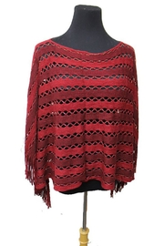 Cap Zone Tinsel Accent Fringe-Poncho - Front cropped