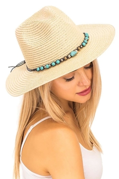 Cap Zone Turquoise Rock Gem Boho Panama Hat - Product List Image