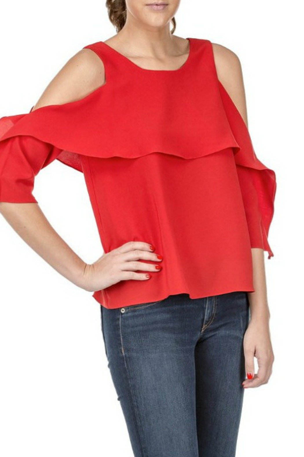 Jade Cape Sleeve Top - Front Cropped Image