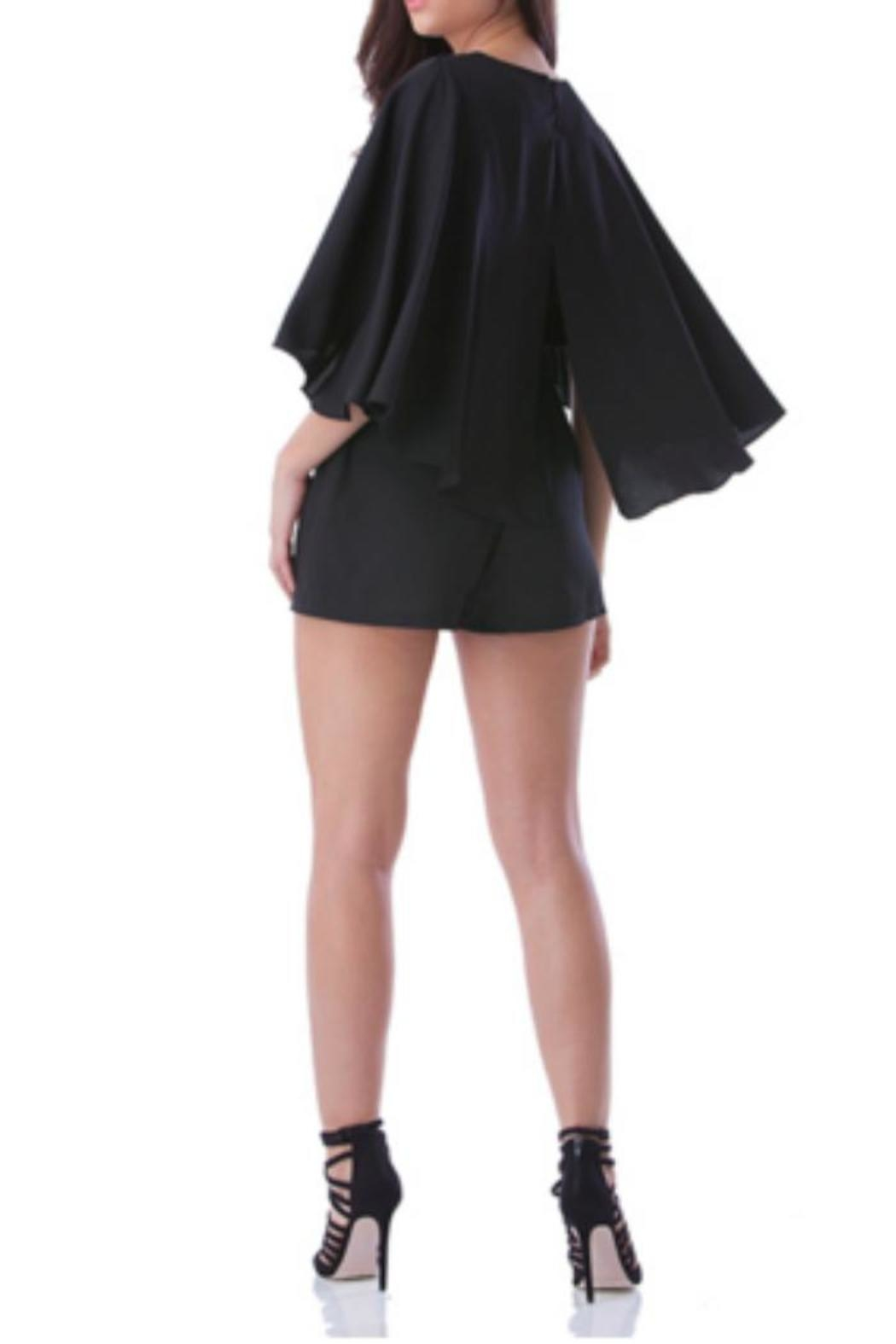 Mustard Seed  Caped Black Romper - Front Full Image