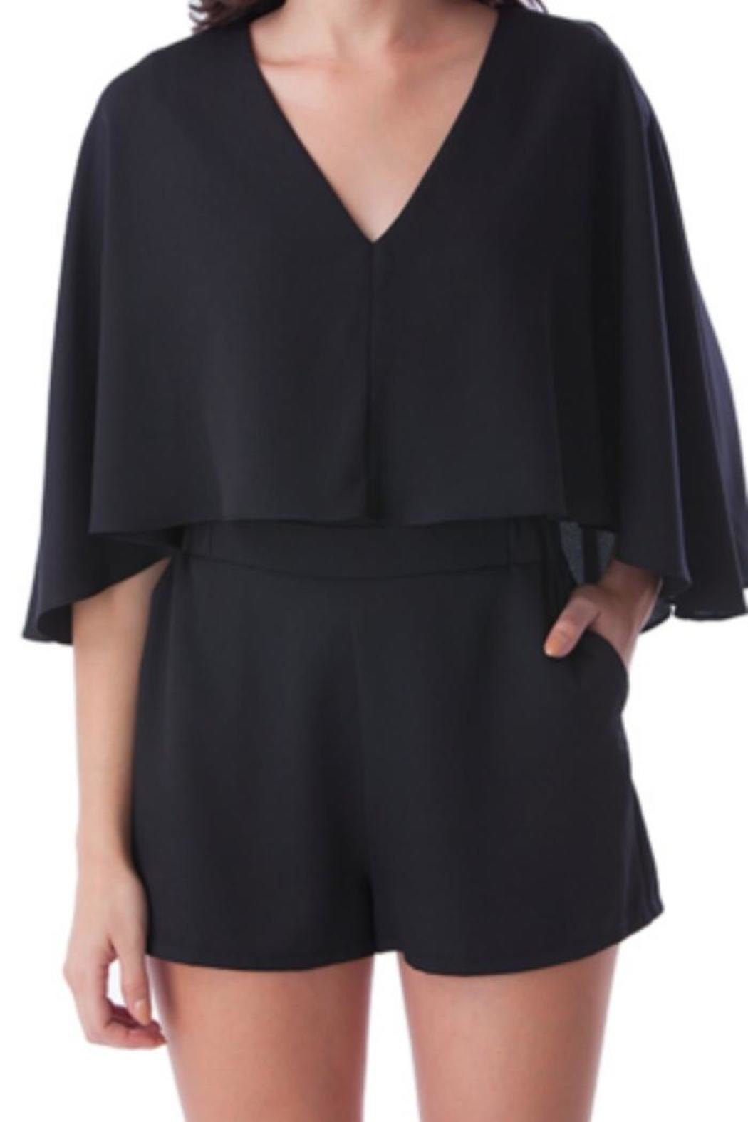 Mustard Seed  Caped Black Romper - Side Cropped Image