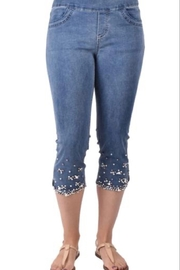 Ethyl Palmdale Pull on capri jeans with pearl & crystal embellishments - Product Mini Image