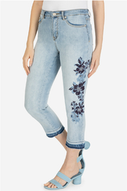 Tribal Capri w/embroidery and released hem - Product Mini Image