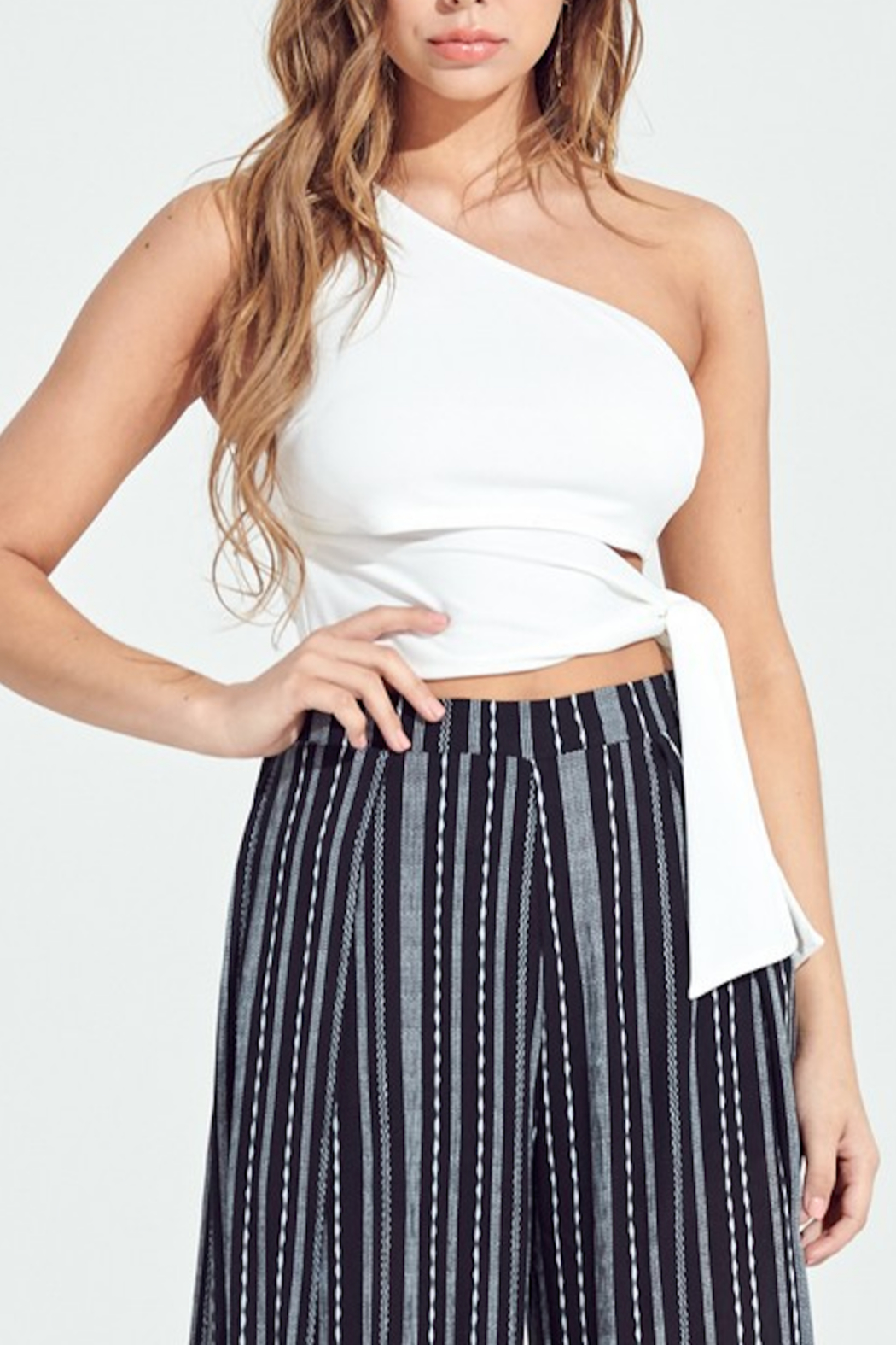 blue blush Cara Tie Waist Crop Top - Front Cropped Image