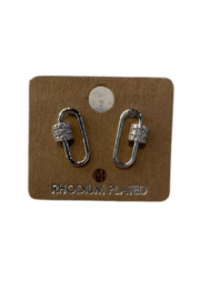 FAME ACCESORIES Carabiner Stud Earrings - Product Mini Image