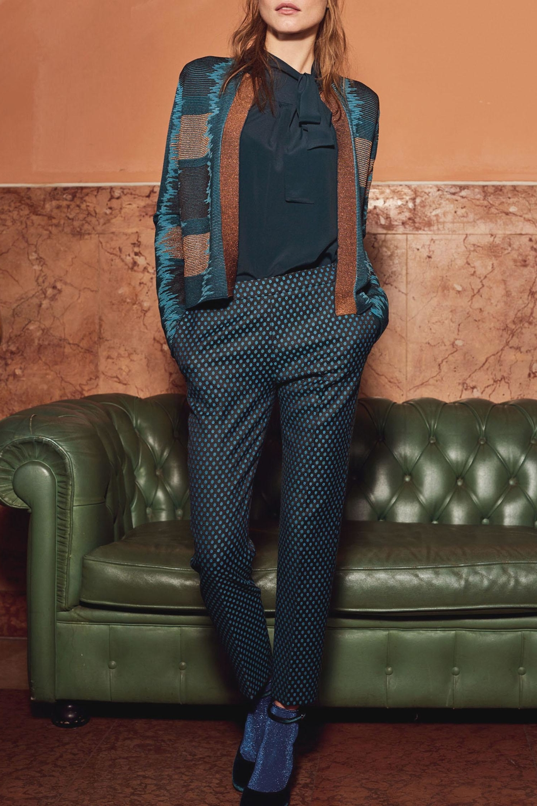 Caractere Jacquard Printed Trousers - Front Cropped Image