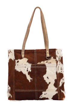 Shoptiques Product: CARAMEL FRONT POCKET HAIRON TOTE BAG