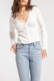 White Crow Cardenas Lace Trim Ribbed Henley w Bell Sleeve - Product Mini Image