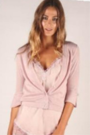 Femme Fatale Cardigan W/Pearl Buttons and Chiffon Back - Product Mini Image