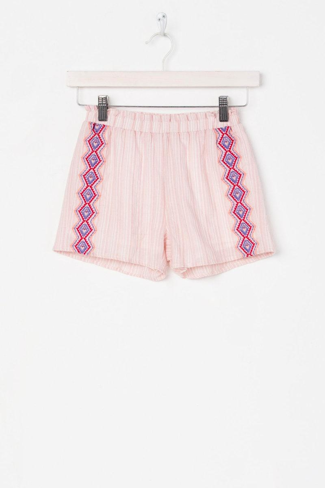Miss Me Carefree Embroidered Shorts - Main Image