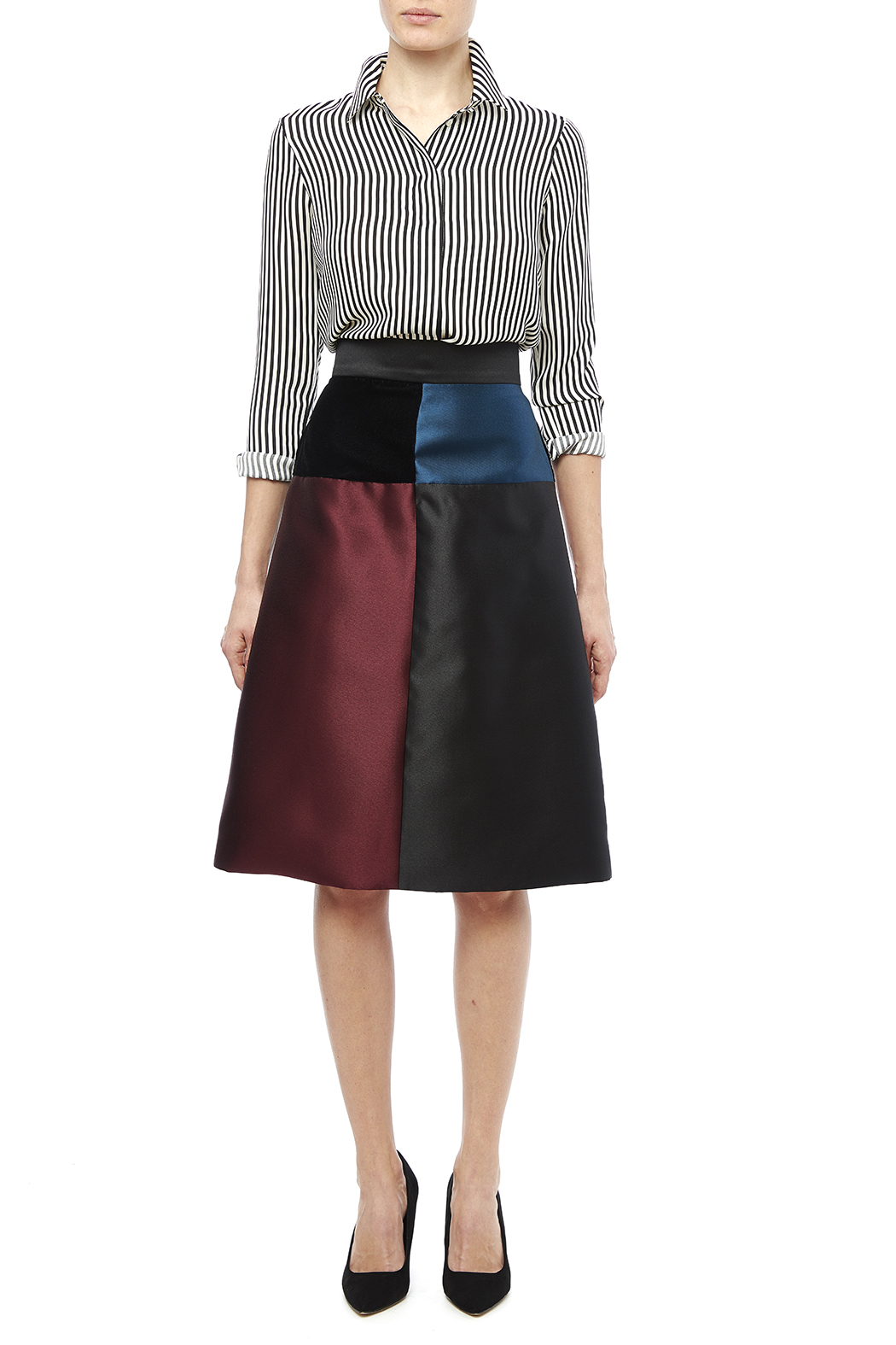 Carine Color Block Skirt - Front Full Image