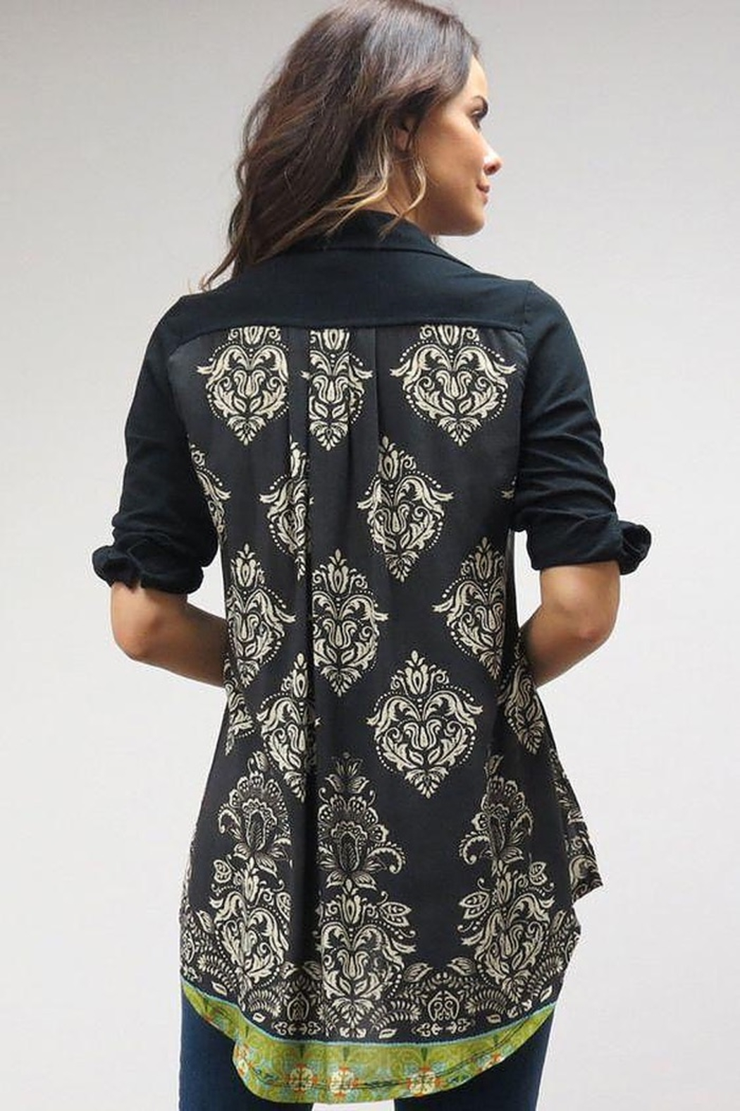 Caite Carla tonal embroidered shirt w contrast print back - Front Full Image