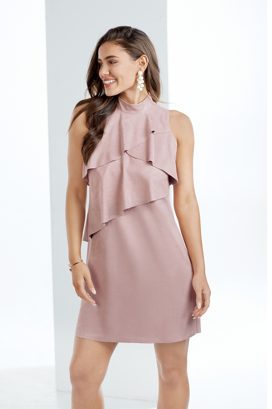 Mud Pie Carley Suede Dress - Front Full Image