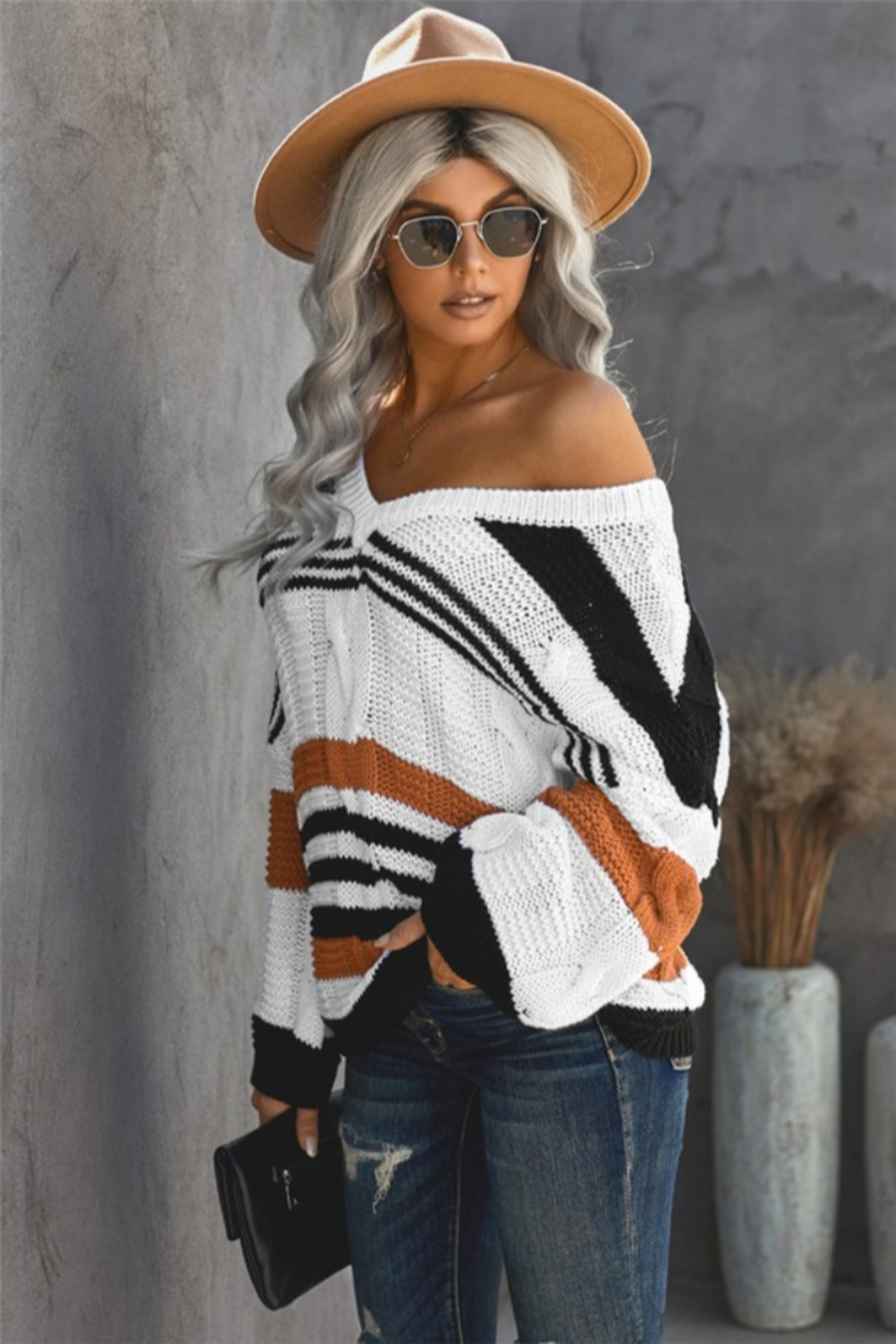 Shewin Carlisle Striped Sweater - Front Cropped Image