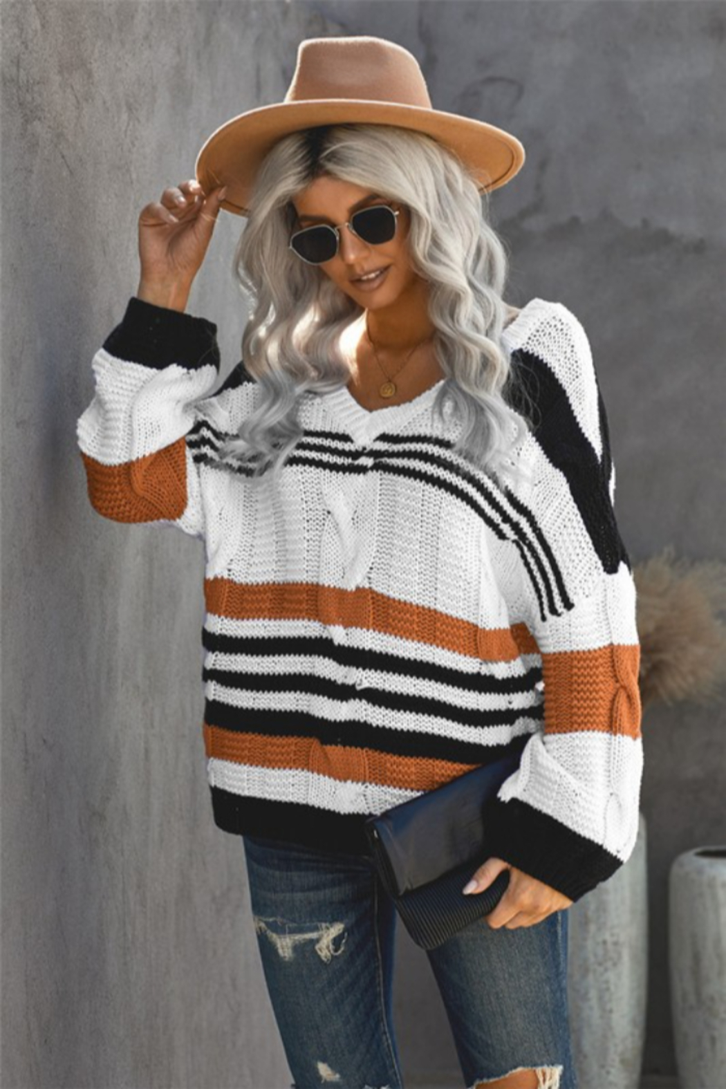 Shewin Carlisle Striped Sweater - Front Full Image