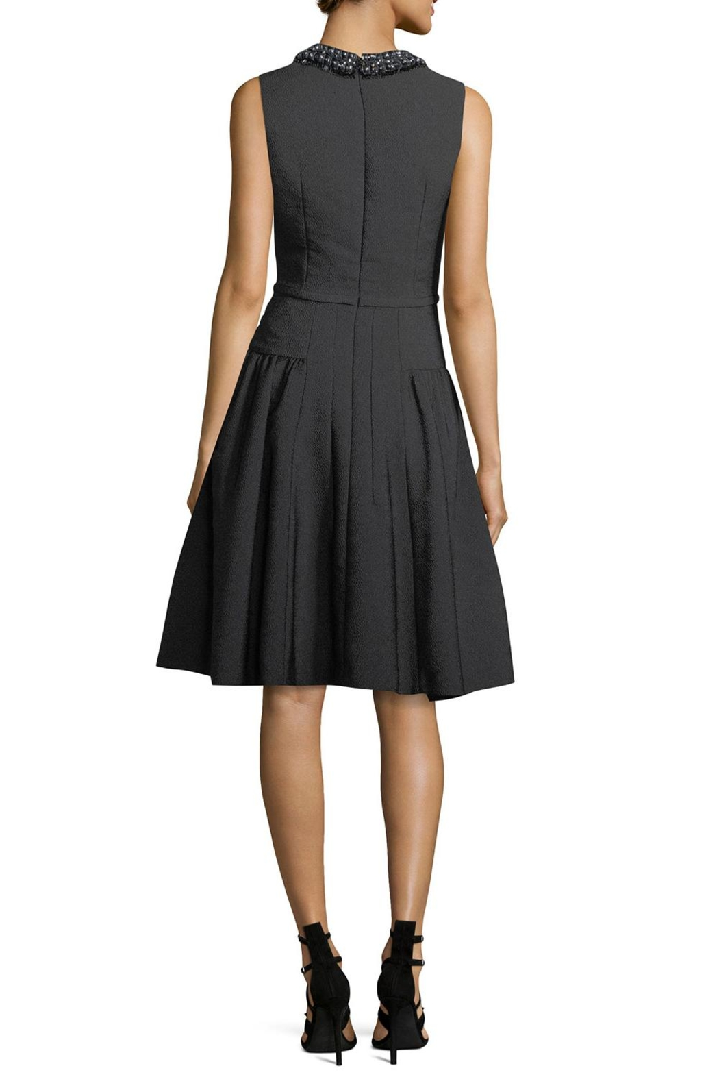 Carmen Marc Valvo Sleeveless Crepe Dress - Front Full Image