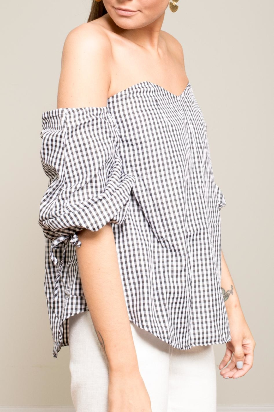 Carmin Gingham Off Shoulder Top - Front Full Image