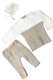 CARMINA Carmina Dual Color Rib Knit 3 Piece Set For Newborn - Product Mini Image