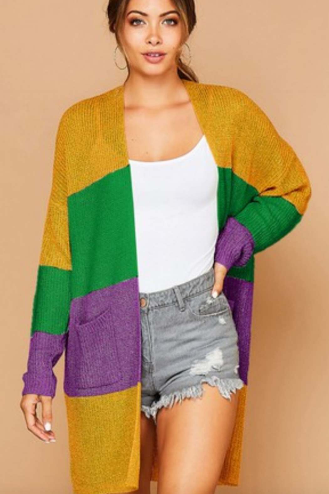 Peach Love California Carnival Color Block Cardi - Main Image