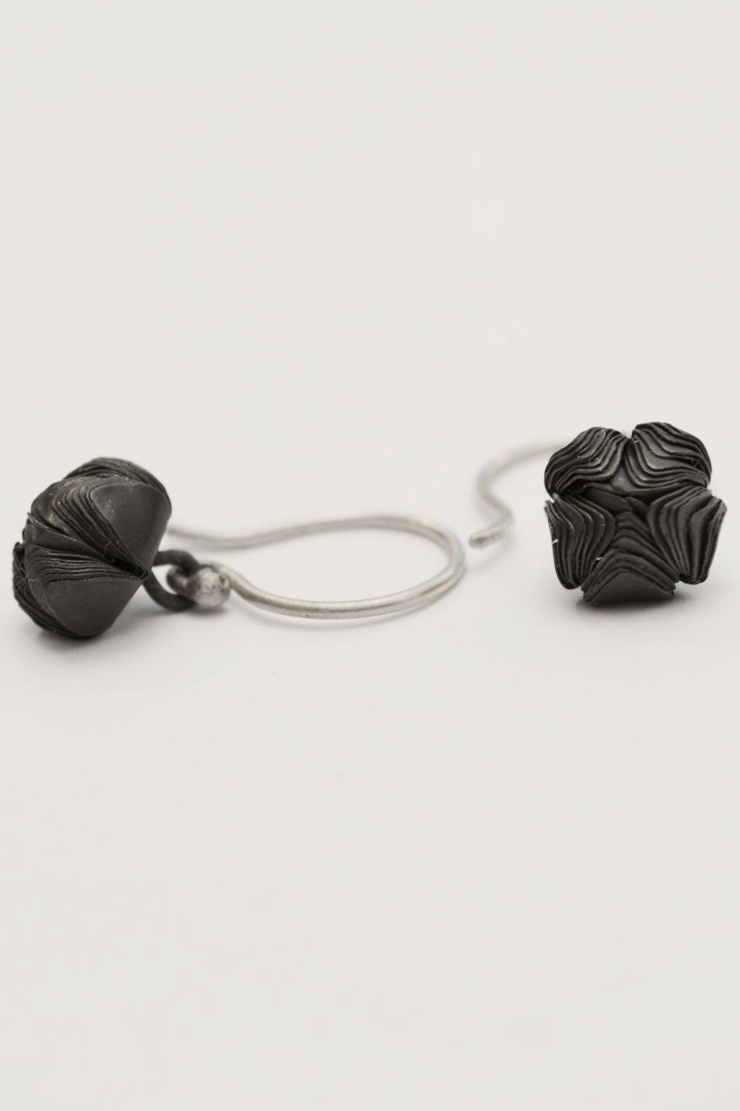 Carolina Lutz Oxidized Flower Earring - Front Full Image