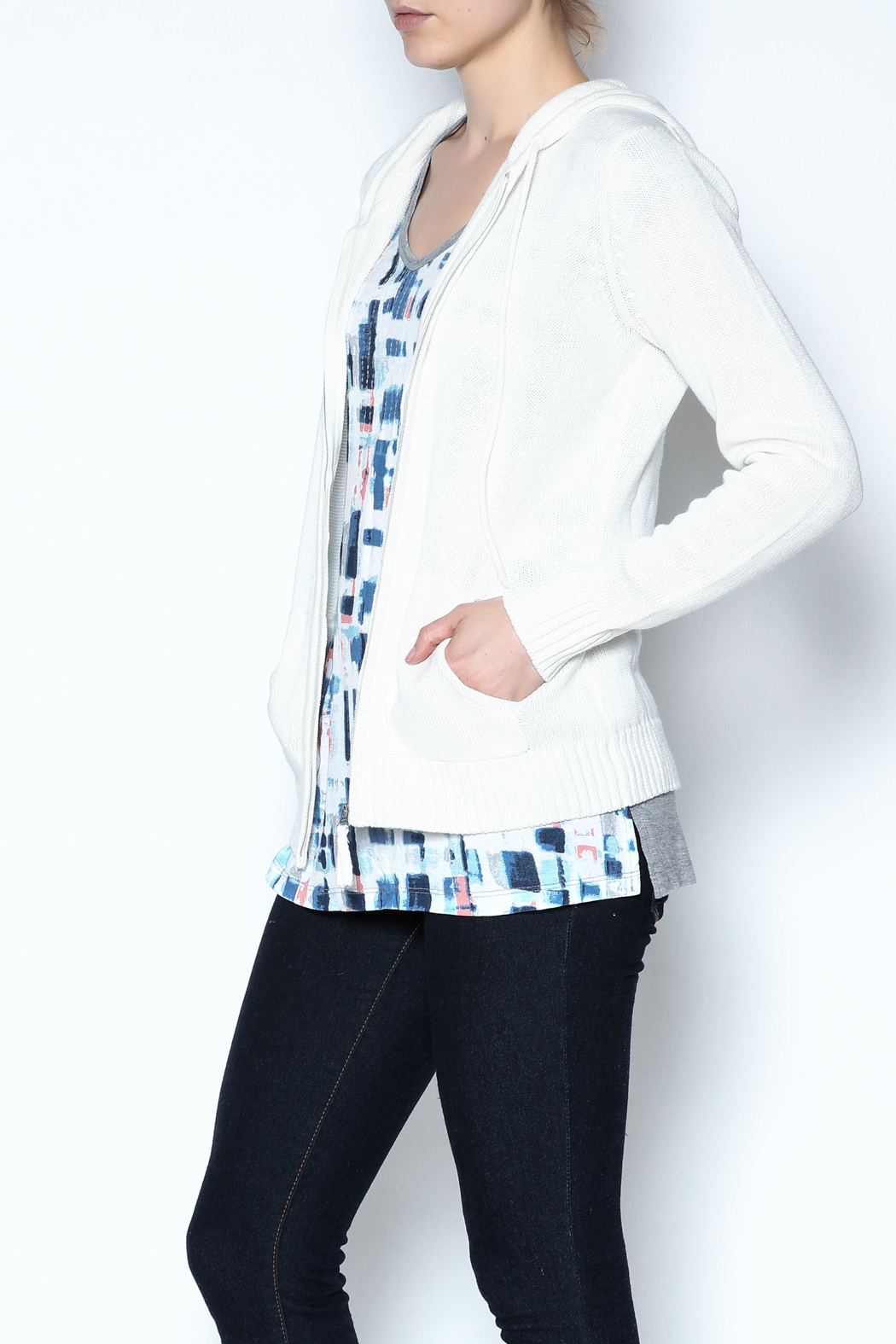 Caroline Grace Cashmere Beach Hoodie - Side Cropped Image
