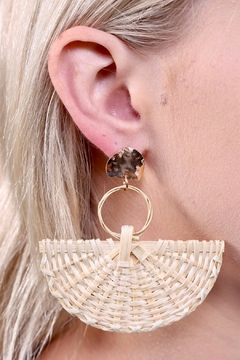 Shoptiques Product: Rattan Fan Earrings