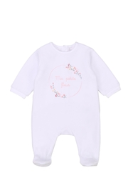 Carrément Beau Baby Girls White Velour Footie - Product Mini Image