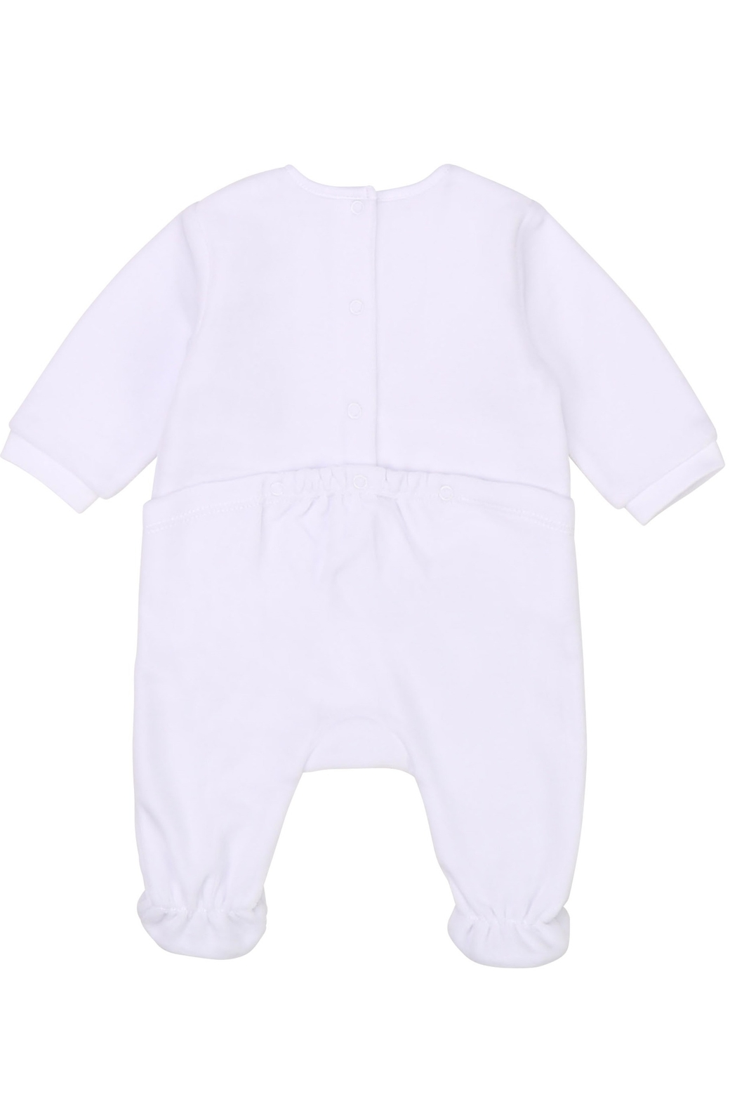 Carrément Beau Baby Girls White Velour Footie - Front Full Image