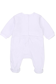 Carrément Beau Baby Girls White Velour Footie - Front full body