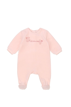Carrément Beau Baby Pink Cotton Velour Footie - Great Baby Shower Gift - Product List Image