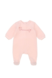 Carrément Beau Baby Pink Cotton Velour Footie - Great Baby Shower Gift - Product Mini Image
