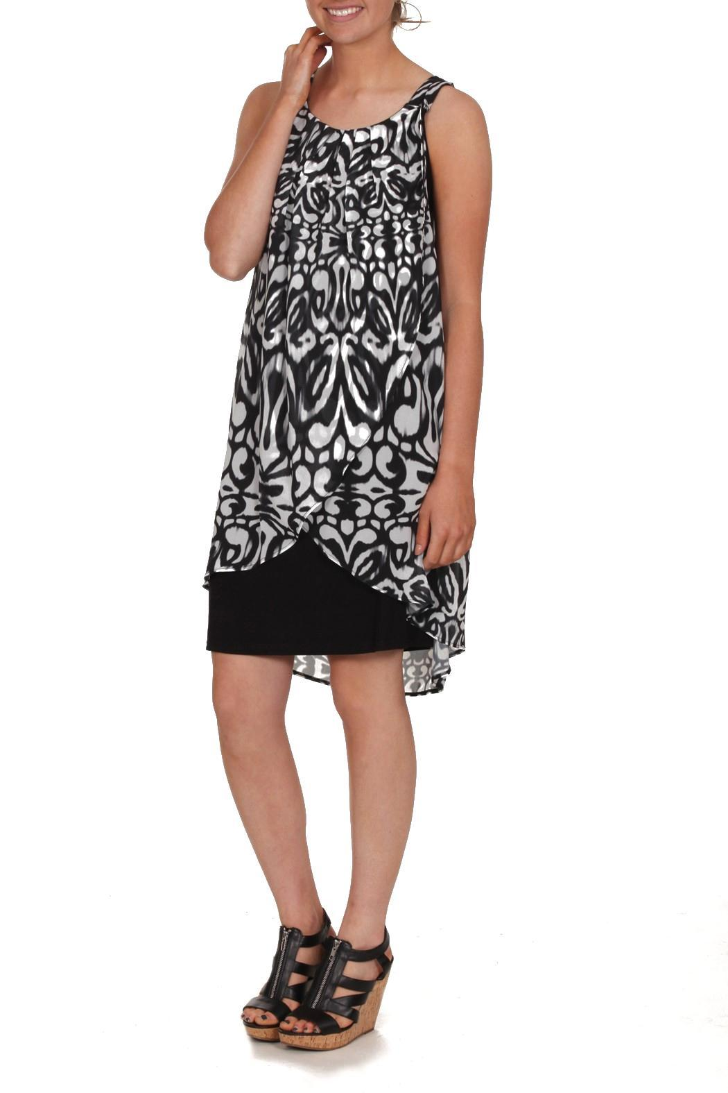 Carre Noir Patterned Mini Dress - Front Cropped Image
