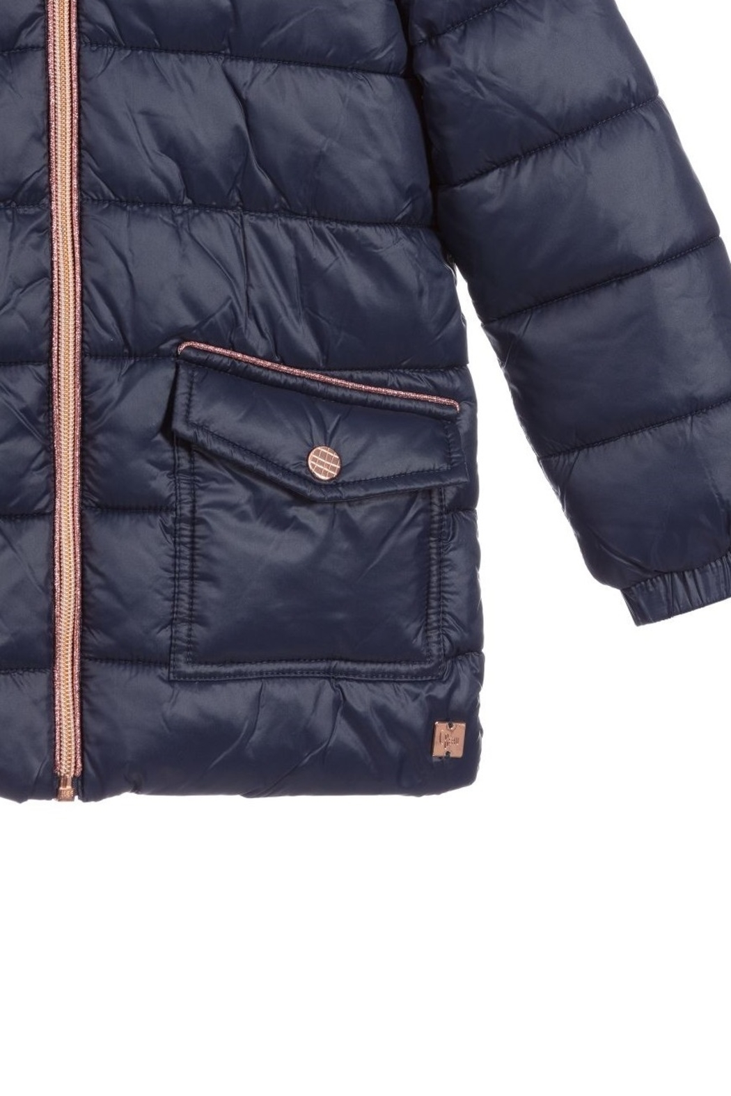 Carrement Beau  Kid's Navy Puffer Water Repellent Jacket (Unisex) - Back Cropped Image