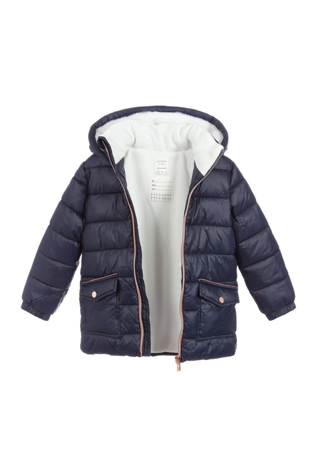 Carrement Beau  Kid's Navy Puffer Water Repellent Jacket (Unisex) - Front Full Image
