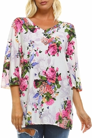 Carrie Allen Floral Knit Top - Product Mini Image