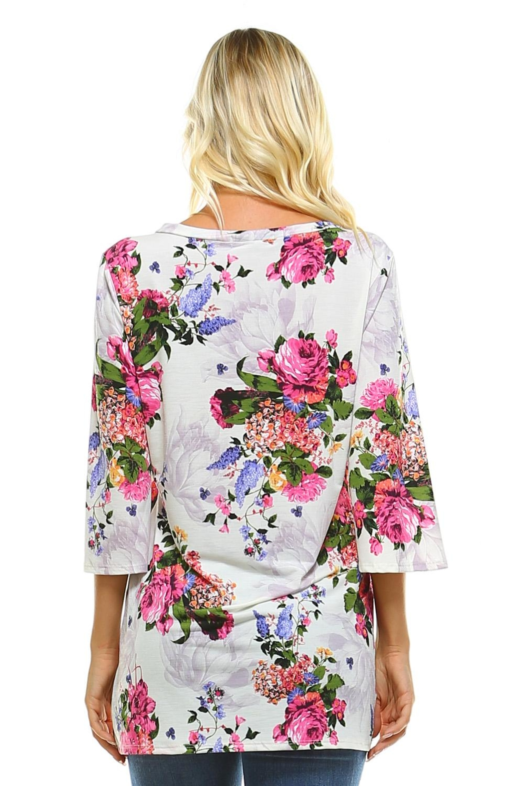 Carrie Allen Floral Knit Top - Side Cropped Image